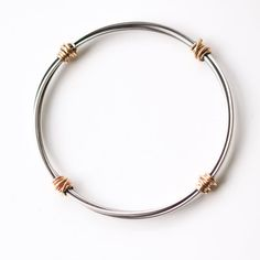 "Ultra modern oxidized silver and solid 14KY gold bracelet, pairing of the dark of the silver and yellow gold - ""Gold Bundle Hoop Bracelet"""