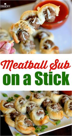 Sub On A Stick Easy Meatball Sub on a Stick recipe from The Country Cook uses yummy frozen meatballs and refrigerated pizza dough to make this a super simple but super delicious appetizer or game day snack!Frozen Frozen may refer to: Yummy Appetizers, Appetizer Recipes, Simple Appetizers, Appetizer Ideas, Party Appetizers, Meatball Subs, Game Day Snacks, Country Cooking, Football Food