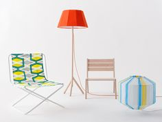 Lamps by Colonel are hand sewn using the plastic bands from vintage camping chairs.