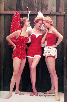 Vintage/retro swimsuits. The middle is adorable, the left is so cute and the one on the right could totally work for today if not for the shorts.