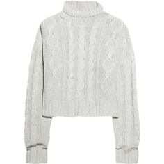 Bamford Cropped cashmere cable-knit sweater ($310) ❤ liked on Polyvore featuring tops, sweaters, jumpers, shirts, long sleeve shirts, cashmere cable knit sweater, cable knit turtleneck sweater, turtleneck shirts and cropped turtleneck sweater