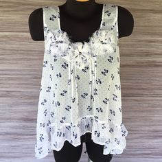 BOGO SALE! Bow top White and Navy sheer top with bows and polka dots. Super flowy. Excellent condition! Rue 21 Tops