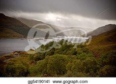 """Dramatic storm with rain over the Loch Shiel, Scotland"" - Rain Stock Photos from Go Graph"