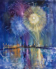 "Nikolay Dimitrov; Acrylic 2013 Painting ""Fireworks"""