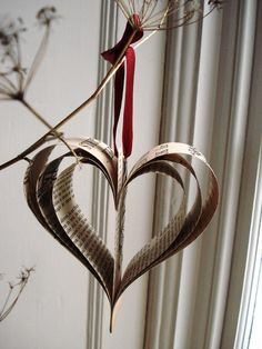vintage book paper heart with ruby ribbon - one of a kind holiday or pew decorations