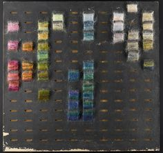 COLOUR BOARD, 1960-1980. Designed and used by Bernat Klein in his textile design business, hard board with black cardboard front with 140 oval holes for arranging yarn samples.