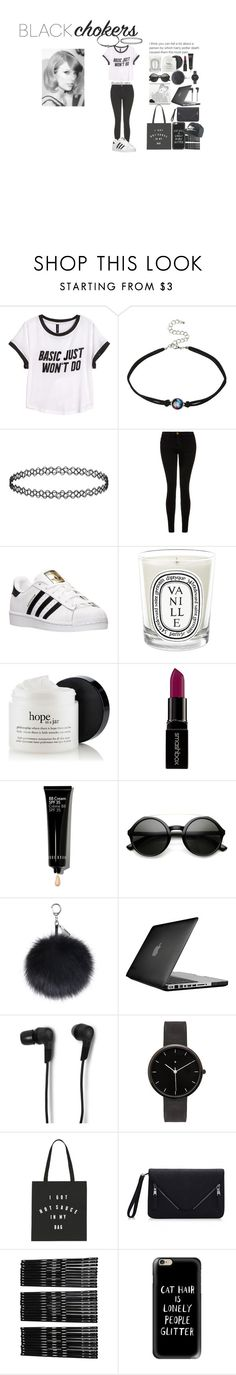 """""""Black chokers"""" by pernille-sophie ❤ liked on Polyvore featuring H&M, Current/Elliott, adidas, Diptyque, Smashbox, Bobbi Brown Cosmetics, Speck, B&O Play, I Love Ugly and Monki"""