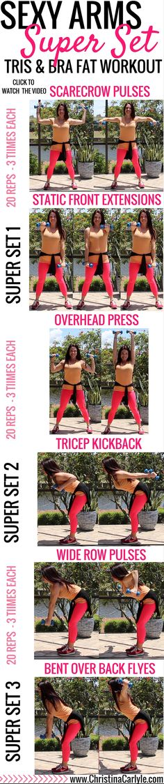 These arm and upper back exercises are great for tightening the triceps and bra strap area of the back. #workoutforwomen #fitness