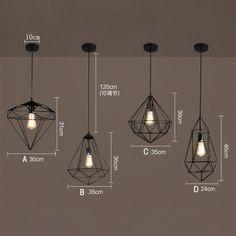 Retro Diamond Shape Cage Ceiling Pendant Lamp Loft Light Lighting Chandeliers - All For Decoration