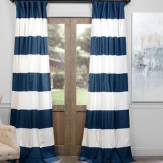 "Alcott Hill Wilkesville Horizontal Stripe Thermal Single Curtain Panel Color: Dusk Blue, Size: 50"" W x 120"" L"