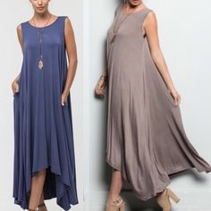 🆕JILL LONG DRESS w POCKET - DENIM BLUE LONG DRESS WITH POCKETS - Only denim blue available. 95%RAYON 5% SPANDEX. striped Bellanblue Dresses Maxi