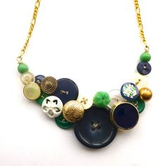 Statement Button Bib Necklace Gold Brass, White, Navy Blue, and Green by buttonsoupjewelry, $35.00