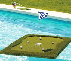 Floating Golf Green - For the golf fan who has everything!  The Floating Golf Green comes in several size options, from the large 8'x12' to the smallest 3'x3', so it can fit any pool size.  The green is covered in faux turf to make it as close to a real golf course as possible.  It sports a flag to help you aim, and comes with floating golf balls that hit and move just like a regular golf ball, but won't be a pain to retrieve if your aim is a little bit off!