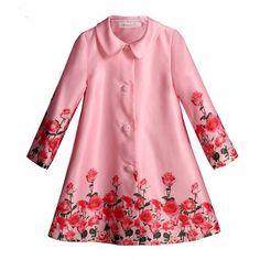 Pettigirl Coat, 3-8 jaar Long Jacket For Girls, Girls Boutique, Long Jackets, Pink Girl, Kids Girls, Red Roses, Girls Coats, Girl Outfits, Floral Prints