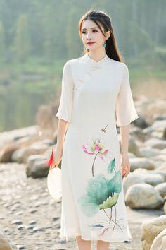 Roupas para o Sexo Feminino Moderno Qipao Vestido Chinês do vintage Mulheres Vestido de Linho de Algodão Pintados À Mão de Lótus…