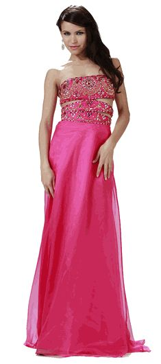 Fuchsia Strapless Beaded Cut-Out Bodice Full Length Prom Dress #fuchsia #prom #gown