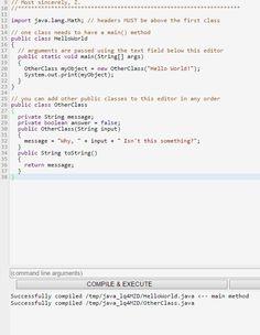Online Java IDE (javac 1.8.0_121)