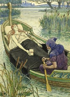The Death Journey of the Lily Maid of Astolat by Walter Crane - print