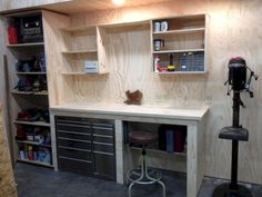 Closet workbench garage work table ideas bench and storage folding wood shop ta . simple office table design work desk buy for ideas small garage workbench Plan Garage, Garage Shed, Garage Walls, Garage House, Garage Doors, Diy Garage Work Bench, Shop Work Bench, Garage Racking, Wood Work Bench Ideas