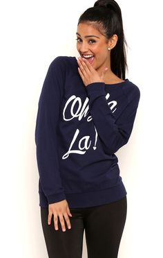 Deb Shops Long Sleeve French Terry Tunic Top with Oh La La Screen $10.25