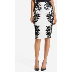 High Waist Stretch Ponte Pencil Skirt ($60) ❤ liked on Polyvore