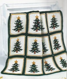 Crochet Pattern Instructions ~ CHRISTMAS PINES AFGHAN ~ Christmas Tree