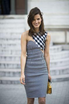a920ea37e8e Paris Fashion Week Street Style Spring 2013. Hanneli Mustaparta in a STELLA  McCARTNEY gingham cut