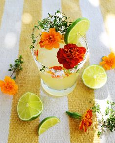 The Gardenrita. Tequila, lime juice, chartreuse, marigold simple syrup, muddled marigold petals and thyme.