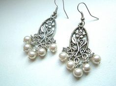 Orecchini sposa pendenti argento e perle. Bride earrings. #wedding #earrings