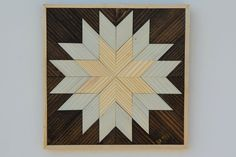 Small Textured Modern Quilt Star Square Wood Wall Art - Wall Hanging - Home Decor - Original Art Sculpture in Browns