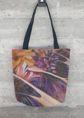 Flowering desert: tote bag with print of acrylic painting, floral motive, purple and ochre shades