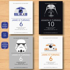 star wars x 4 invitations set SELF EDITABLE by MyFirstInvitation