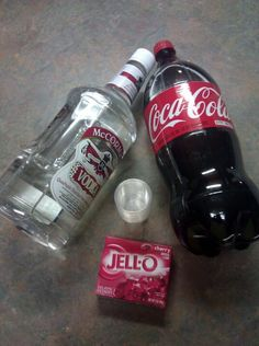 Cherry Coke Jello Shots  - 1 regular box of Cherry Jello   - 1 cup of coke  - 1 cup of vodka  - Portion cups*  - Small pot  - Measuring cup  - Spoon  - Cookie sheet (optional)