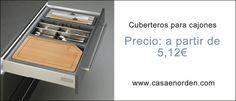 Cuberteros adaptables y recortables para cajones de cocina.