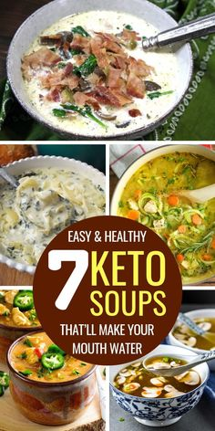 Easy and healthy keto soup recipes on the ketogenic diet. low carb soup recipes with chicken, ground beef, meat, veggies or dairy free. Enjoy these nice keto soups for dinner. Diet Low Carb Keto Soup Recipes on the Ketogenic Diet Low Carb Soup Recipes, Healthy Recipes, Ketogenic Recipes, Keto Foods, Simple Soup Recipes, Low Carb Soups, Keto Snacks, Dairy Free Keto Recipes, Ground Beef Keto Recipes