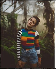 $15 - $50 Asymmetrical Long Sleeved Spring Summer Top Rainbow Stripes With Black And White Striped Arm Print Detail And High Waisted Blue Denim Jean Shorts Tumblr
