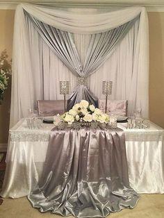 Sweetheart table for silver wedding decor Wedding Table Decorations, Wedding Centerpieces, Table Wedding, Wedding Church, Wedding Ceremony, Party Wedding, Wedding Bride, Wedding Scene, Tall Centerpiece