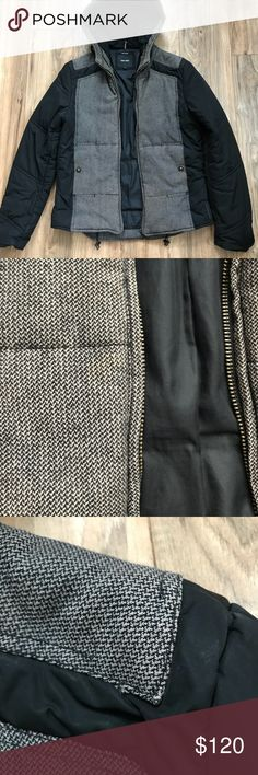 Antony Morato hooded jacket The shell is a black poly with contrasting black/Grey/beige ish tweed. Is a fairly warm jacket with a structured  hood.  Slight discoloration on the front near the zipper, and some stitching is coming off on a corner on the left shoulder, also a tear on the right shoulder   Size is 46|Small Antony Morato Jackets & Coats