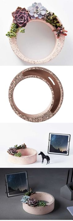 Concrete Round Succulent Planter Flower Paper Clip Holder Collection Office Desk Stationery Organizer