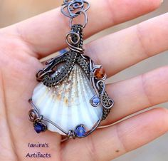 Steampunk Wire wrapped seashell pendant with Swarovski by Ianira