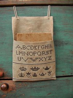 Primitive Croix broderie - Sampler lin Pouch