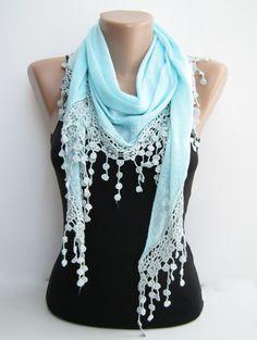 Mint blue triangle summer shawl, lace scarf. $18.00, via Etsy.