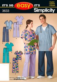 It's So Easy Sewing Patterns : : Simplicity Patterns : Misses / Mens / Teens Scrubs