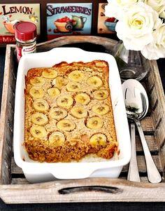 baked oatmeal with peanut butter and bananas. I will sub out peanut butter with almond butter, add vanilla