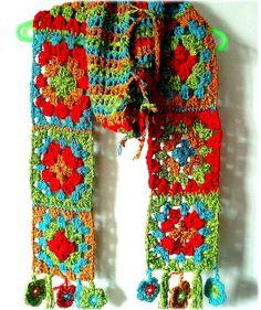 crochet granny scarf