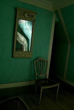 Askew | One of the bedrooms at Liselund Castle. Couldn't get into the room, so the angle is a little strange...