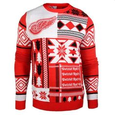 Detroit Red Wings Patches Ugly Crew Neck Sweater