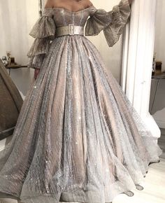 sparkly prom dresses off the shoulder sliver sequins bling bling evening dresses poet sleeve formal dress Elegant Dresses, Pretty Dresses, Beautiful Dresses, Sparkly Prom Dresses, Silver Ball Dresses, Wedding Dresses, Silver Gown, Homecoming Dresses, Bridal Gowns