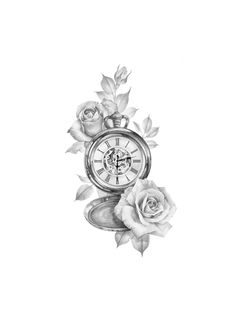 Realismo tattoo designs The post Realismo Tattoo Designs appeared first on Mary& Secret World. Pocket Watch Tattoo Design, Clock Tattoo Design, Tattoo Designs, Rose Drawing Tattoo, Tattoo Sketches, Tattoo Drawings, Rose Tattoos, Flower Tattoos, Rose Zeichnung Tattoo