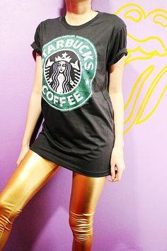 Starbucks Coffee Retro Art Black TShirt by SoYouThinkYouCanRock, $16.99